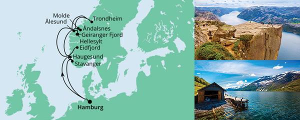 Routenverlauf Norwegens Fjorde am 09.06.2022