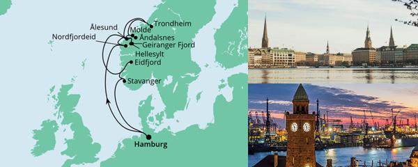Routenverlauf Norwegens Fjorde am 08.07.2022