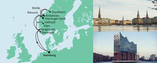 Routenverlauf Norwegens Fjorde am 28.07.2022