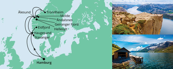 Routenverlauf Norwegens Fjorde am 07.08.2022