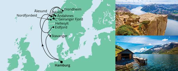 Routenverlauf Norwegens Fjorde am 26.08.2022
