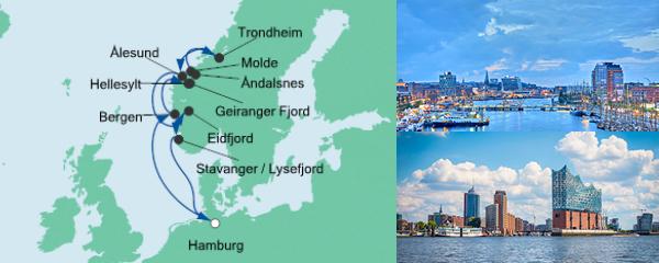 Routenverlauf Norwegens Fjorde am 07.08.2019