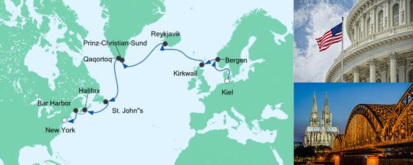 Routenverlauf Von Kiel nach New York am 28.08.2019