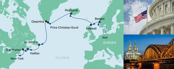 AIDA Wochenendeinkauf Angebot Von Kiel nach New York