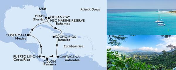 Routenverlauf MSC Karibik & Antillen mit MSC Divina