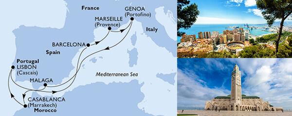 Routenverlauf 9 Tage Mittelmeer (MSC Preziosa) am 18.10.2019