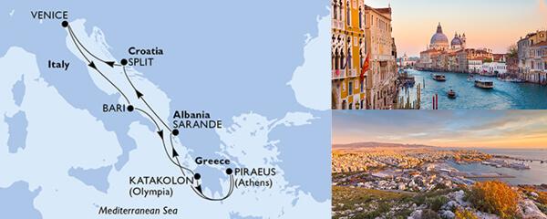 Routenverlauf MSC Mittelmeer mit MSC Lirica