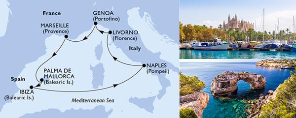 Routenverlauf MSC Mittelmeer mit MSC Fantasia