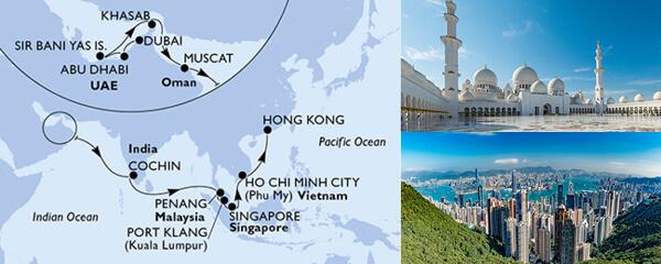 Routenverlauf MSC MSC Grand Voyages mit MSC Splendida