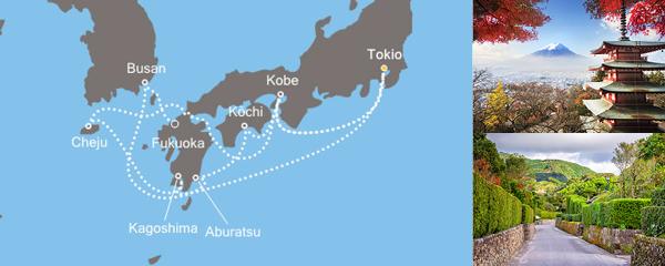 Routenverlauf Asien ab/bis Tokio am 16.06.2019