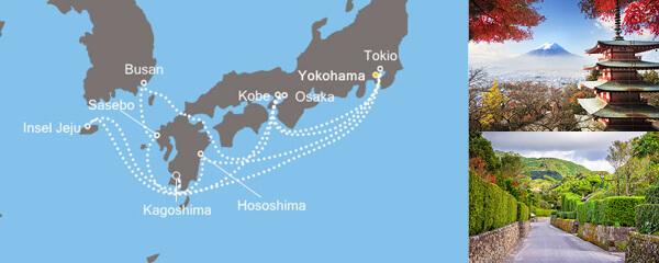 Routenverlauf Costa Asien ab/bis Tokio