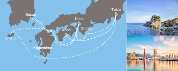 Routenverlauf Asien ab Tokio am 09.06.2019