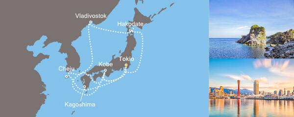 Routenverlauf Costa Asien von Yokohama bis Tokio