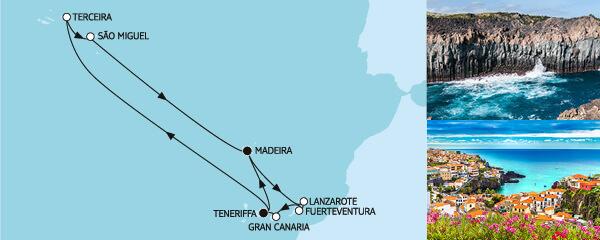 Routenverlauf Kanaren mit Madeira & Azoren am 20.02.2020