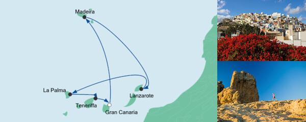 Routenverlauf Kanaren & Madeira 1 am 12.01.2020