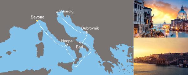 Routenverlauf Von Savona nach Venedig am 22.03.2019