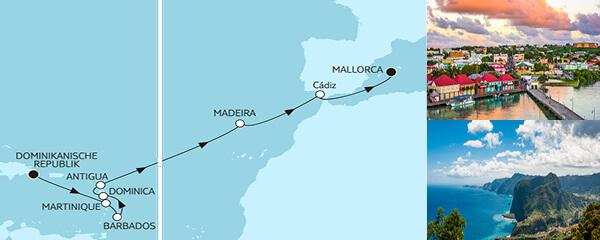 Routenverlauf Dominikanische Republik bis Mallorca am 10.04.2020