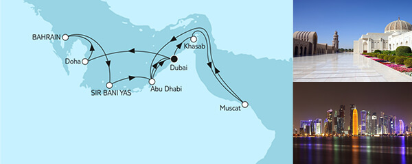 Routenverlauf Dubai mit Bahrain & Oman am 20.10.2019