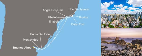 Routenverlauf Südamerika ab Buenos Aires am 24.02.2019