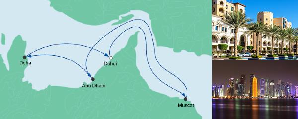Routenverlauf Orient ab Dubai am 20.03.2020