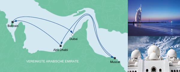 Routenverlauf Orient ab Dubai am 13.12.2019