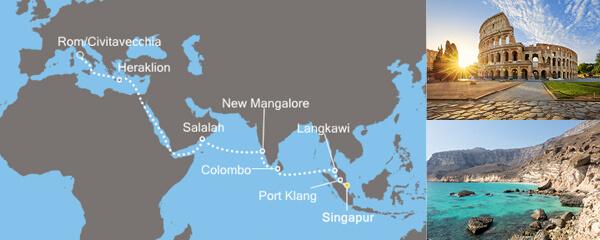 Routenverlauf Costa Transreise ab Singapur