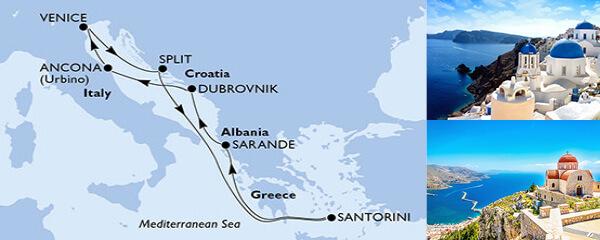 Routenverlauf 7 Tage Mittelmeer (MSC Sinfonia) am 26.09.2020