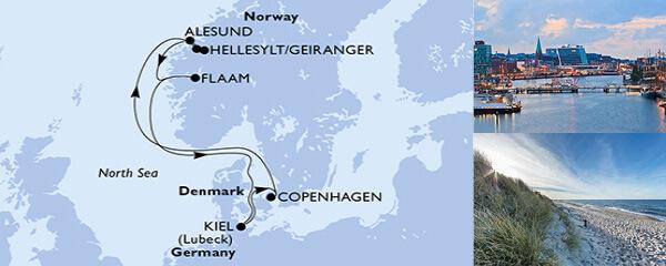 Routenverlauf MSC Nordeuropa mit MSC Meraviglia
