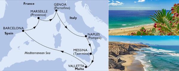 Routenverlauf MSC Westliches Mittelmeer mit MSC Grandiosa