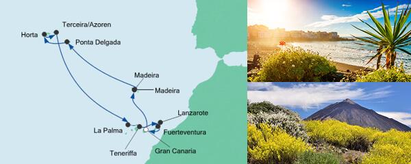 AIDA Pauschal Angebot Festtagsreise Kanaren & Azoren