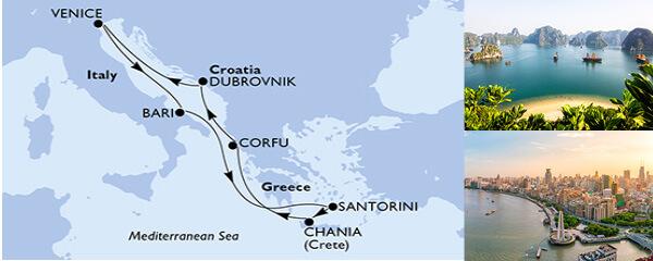 Routenverlauf 7 Tage Mittelmeer (MSC Magnifica) am 11.07.2020