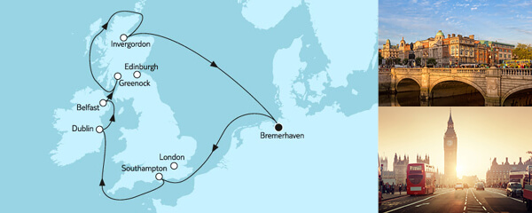 Routenverlauf Großbritannien ab Bremerhaven I am 07.05.2020