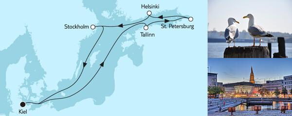 Routenverlauf Ostsee mit St. Petersburg II am 11.05.2020