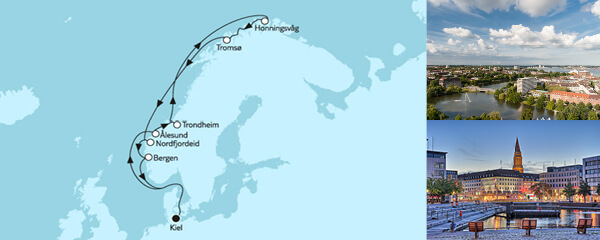 Routenverlauf Norwegen mit Nordkap VI am 16.07.2020