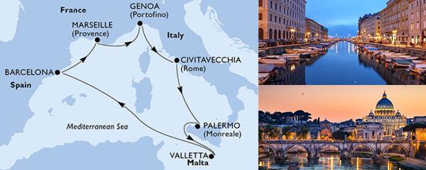 Routenverlauf MSC Mittelmeer mit MSC Virtuosa