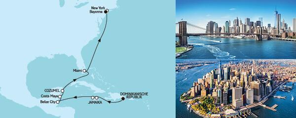 Routenverlauf Dominikanische Republik bis New York am 03.04.2020