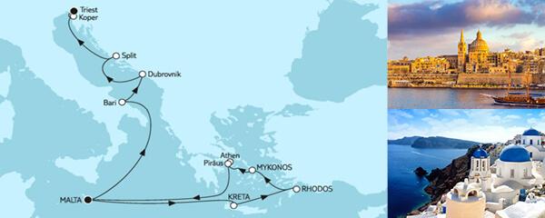14 Tage Griechenland mit Adria & Dubrovnik
