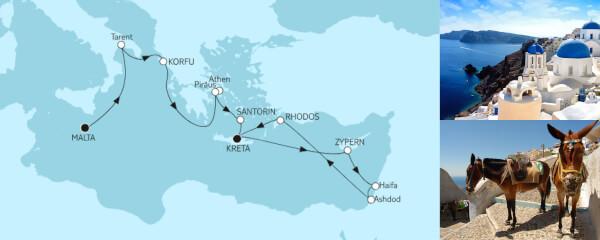 Mittelmeer mit Griechenland und Zypern