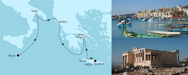Routenverlauf Malta bis Kreta am 24.06.2022
