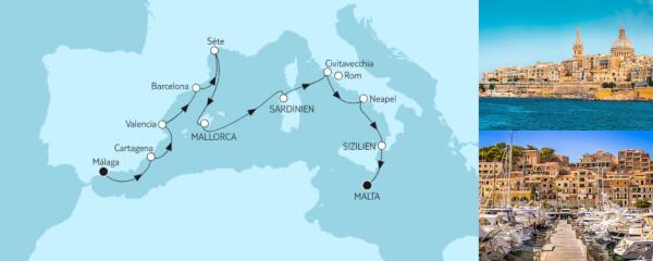 Mittelmeer von Málaga bis Malta