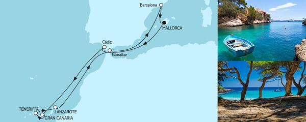 Routenverlauf Mittelmeer mit Kanaren I am 04.10.2020