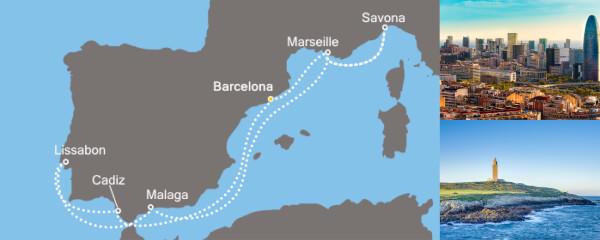 Routenverlauf Costa Entzückendes Mittelmeer