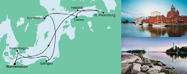 Routenverlauf Ostsee ab Warnemünde 2 am 18.06.2021