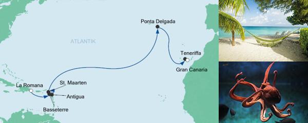 AIDA Traumstart um 12 Angebot Von der Dominikanischen Republik nach Gran Canaria