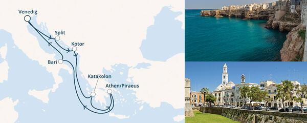 Routenverlauf Costa Zwischen Venedig und Griechenland