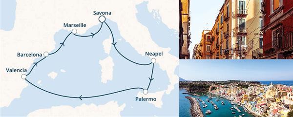 Routenverlauf Costa Schmuckstücke des Mittelmeers