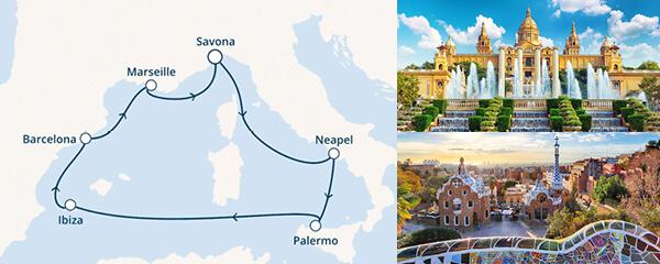 Routenverlauf Costa Sommer, Sonne, Mittelmeer