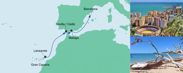 AIDA Seetours Angebot Von Gran Canaria nach Barcelona