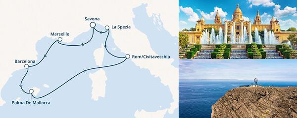Routenverlauf Costa Sonnenuntergang über dem Ligurischen Meer
