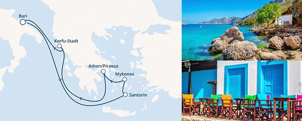 7 Tage Griechenland im Herzen mit der Costa Victoria